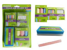 48 Units of 28 Piece Chalk And Eraser Set - Chalk,Chalkboards,Crayons