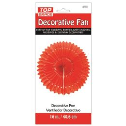 96 Units of Sixteen Inch Decorative Fan Red - Party Center Pieces