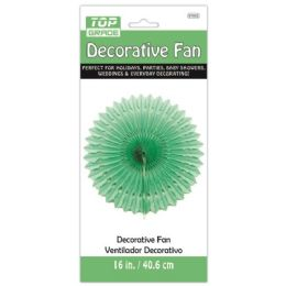 96 Units of Sixteen Inch Decorative Fan Green - Party Center Pieces