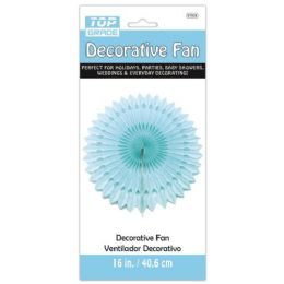 96 Units of Sixteen Inch Decorative Fan Baby Blue - Party Center Pieces