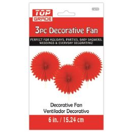96 Units of Three Piece Decoration Fan Red - Party Center Pieces
