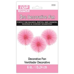 96 Units of Three Piece Decoration Fan Baby Pink - Party Center Pieces