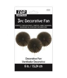 96 Units of Three Piece Decoration Fan Black - Party Center Pieces
