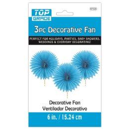 96 Units of Three Piece Decoration Fan Blue - Party Center Pieces