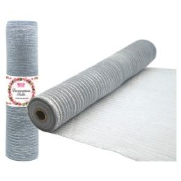 96 Units of Tulle fabric roll silver - Sewing Supplies