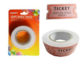 96 Units of 250pc Rolled Raffle Tickets - Party Novelties
