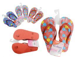 72 Units of Girls Assorted Print Flip Flops - Girls Flip Flops