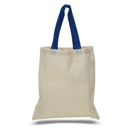 240 Units of 6 ounce cotton canvas tote with contrasting handles-Royal - Tote Bags & Slings