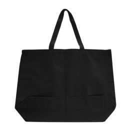 96 Units of Jumbo 12 ounce Gusseted Tote-Black - Tote Bags & Slings