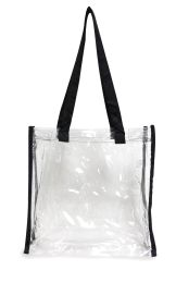 50 Units of Clear Tote Bag- Clear/Black - Tote Bags & Slings