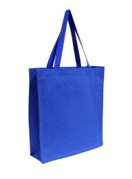 96 Units of Promotional Canvas Shopper Tote-Royal - Tote Bags & Slings