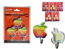 144 Units of 3 Pc Adhesive Hooks, Apples - Hooks