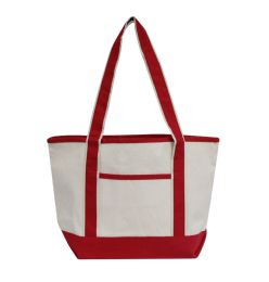 72 Units of Promotional Heavyweight Medium Boat Tote-Red - Tote Bags & Slings