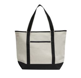 48 Units of Promotional Heavyweight Large Boat Tote-Black - Tote Bags & Slings