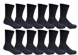 12 Pairs of Men's excell Diabetic Crew Socks, Ringspun Cotton, Neuropathy Edema Socks, King Size (Black)