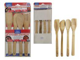 96 Units of 4pc Bamboo Kitchen Utensils - Kitchen Utensils
