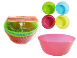 96 Units of 4pc Kid's Bowls In Net - Plastic Bowls and Plates