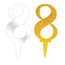 144 Units of Acrylic Birthday Cake Topper Number Eight - Birthday Candles