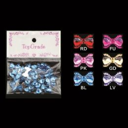 96 Units of Rhinestone Craft Bows - Scrapbook Supplies