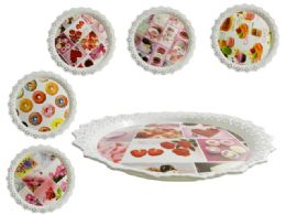96 Units of Round Printed Tray - Serving Trays