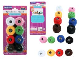 96 Units of 8 Piece Thread Assorted Colors - Sewing Supplies