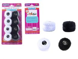 96 Units of 8 Piece Thread, Black And White - Sewing Supplies