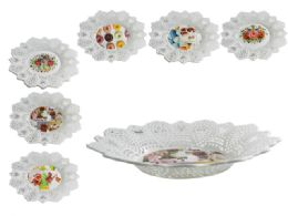 48 Units of Oval Printed Basket Tray - Serving Trays