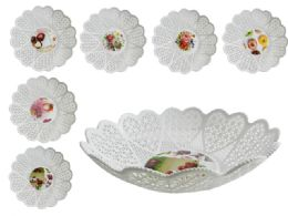 48 Units of Round Printed Basket - Serving Trays