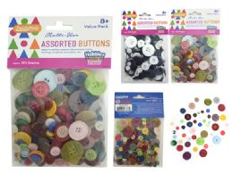 96 Units of 125 Grams Assorted Buttons - Sewing Supplies