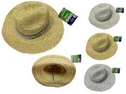 144 Units of Men's Straw Hat - Fedoras, Driver Caps & Visor