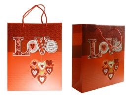 144 Units of Medium Heart Gift Bag - Gift Bags