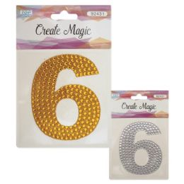 144 Units of Crystal Sticker Number Six - Craft Beads
