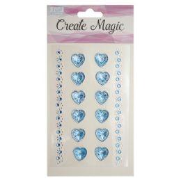 144 Units of Craft Magic Sticker Blue Heart - Stickers