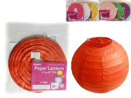 "288 Units of 8"" Dia Paper Lantern With 8 Colors - Hanging Decorations & Cut Out"