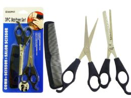 144 Units of 3pc Barber Set With Scissors And Comb - Hanging Decorations & Cut Out