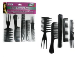 144 Units of 5pc Assorted Combs Set - Hair Brushes & Combs