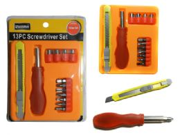 96 Units of 13 Pc Screwdriver & Knife Set - Drills and Bits