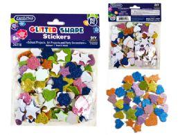 96 Units of Glitter Craft Foam Shape Stickers - Foam & Felt
