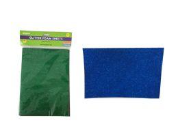 96 Units of 5 Piece Craft Glitter Foam Sheets - Foam & Felt
