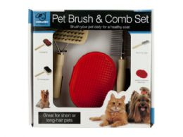 12 Units of Pet Brush & Comb Grooming Set - Pet Grooming Supplies