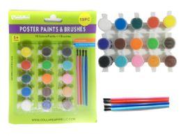 96 Units of 19pc Poster Paint & Brushes Set - Paint, Brushes & Finger Paint