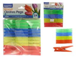 96 Units of 24 Piece Cloth Pegs - Clothes Pins