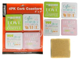 48 Units of 4 Pc Cork Coasters - Coasters & Trivets