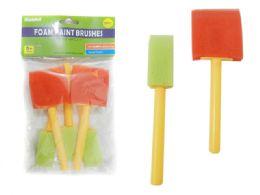 144 Units of 5 Piece Foam Paint Brushes - Paint, Brushes & Finger Paint