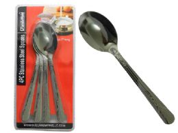 96 Units of 4 Piece Stainless Steel Spoon - Kitchen Cutlery