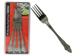 96 Units of 4 Piece Stainless Steel Fork - Kitchen Cutlery