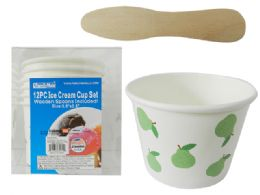 24 Units of 12 Piece Ice Cream Cup Set - Disposable Plates & Bowls