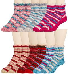 6 Pair Of excell Womens Knitted Slipper Socks With Gripper Bottom and Fuzzy Trim