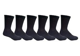 6 Pair Of excell Diabetic Neuropathy Knee High Socks, Edema, Loose Fitting (Black, 9-11)