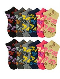 12 Pairs of WSD Womens Ankle Socks, Cotton No Show, Many Colorful Patterns (Assorted Flowers) - Womens Ankle Sock